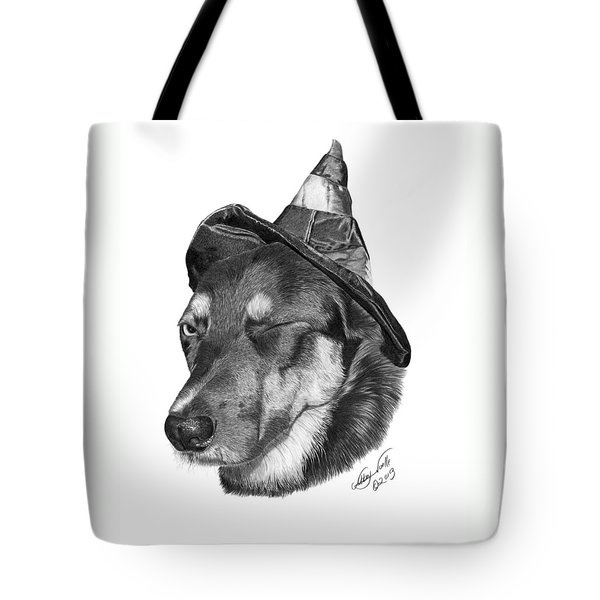 Tote Bag featuring the drawing Marlee In Witch's Hat -021 by Abbey Noelle