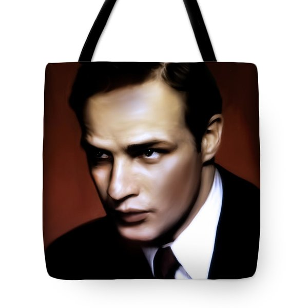 Tote Bag featuring the painting Marlon Brando Tribute by Isabella Howard