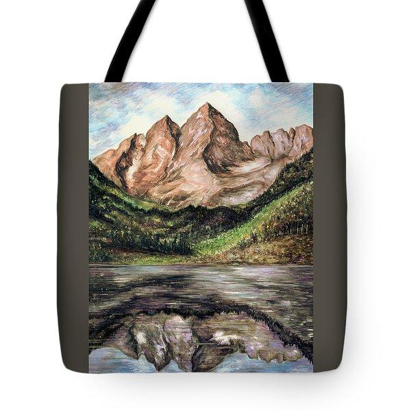 Maroon Bells Colorado - Landscape Painting Tote Bag