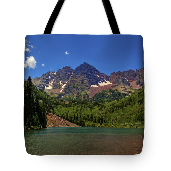 Tote Bag featuring the photograph Maroon Bells From Maroon Lake by Alan Vance Ley