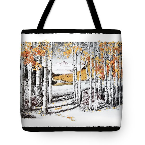Maroon Bells Gold With Border Tote Bag