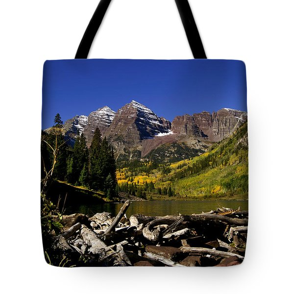 Tote Bag featuring the photograph Maroon Bells by Jeremy Rhoades