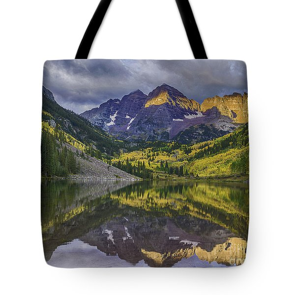 Tote Bag featuring the photograph Maroon Bells Morning Sun by Bitter Buffalo Photography