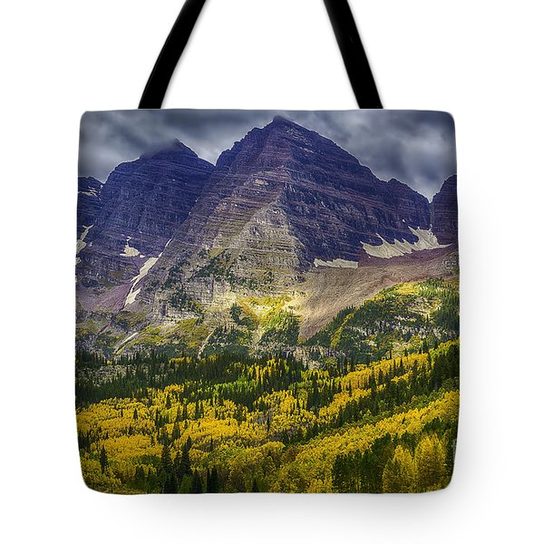 Tote Bag featuring the photograph Maroon Bells by Bitter Buffalo Photography