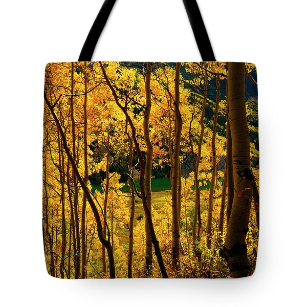 Maroon Lake Gold Tote Bag