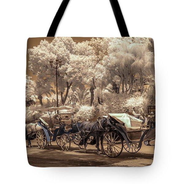 Marrakech Street Life - Horses Tote Bag