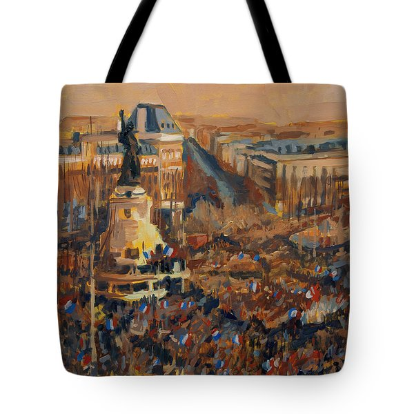 Tote Bag featuring the painting Mars Je Suis Charlie 11 Janvier 2015 by Nop Briex