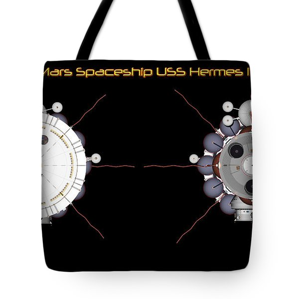 Tote Bag featuring the digital art Mars Spaceship Hermes1 Front And Rear by David Robinson