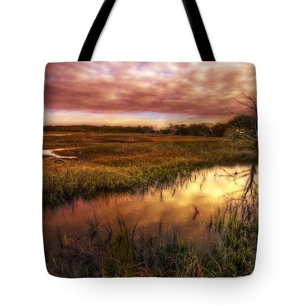 Marsh At Dawn Tote Bag by Debra and Dave Vanderlaan