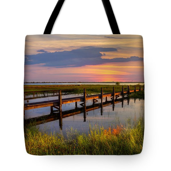 Marsh Harbor Tote Bag by Debra and Dave Vanderlaan