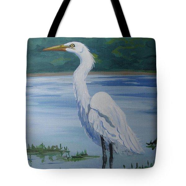 Marsh Land Egret Tote Bag