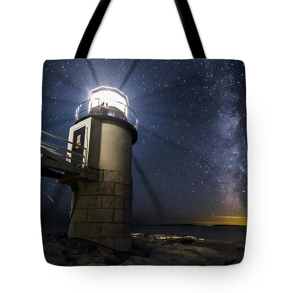 Marshall Lighthouse And The Night Sky Tote Bag