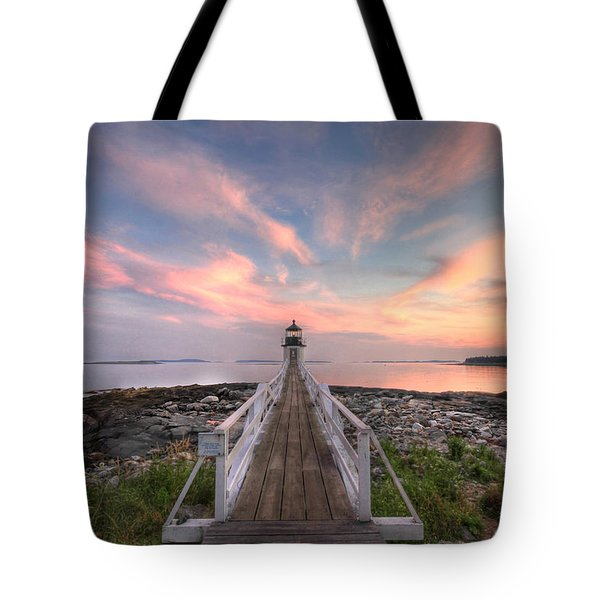 Marshall Point Sunset Tote Bag by Lori Deiter