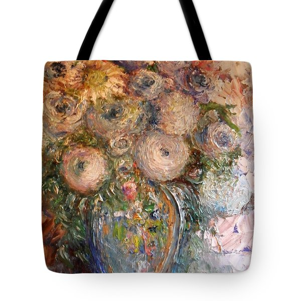 Tote Bag featuring the painting Marshmallow Flowers by Laurie L