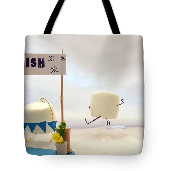 Marshmallow Marathon Tote Bag by Heather Applegate