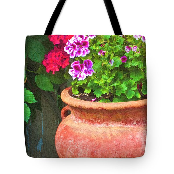 Martha Washington Geraniums In Textured Clay Pot Tote Bag by Sandra Foster