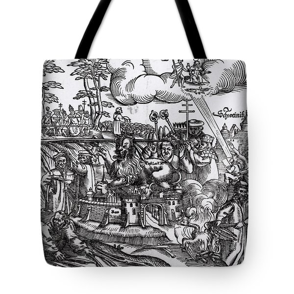 Martin Luther 1483 1546 Writing On The Church Door At Wittenberg In 1517 Tote Bag by German School