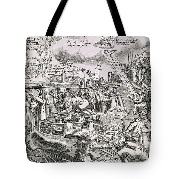 Martin Luther 1483 1546 Writing On The Church Door At Wittenberg In 1517  Tote Bag by Swiss School