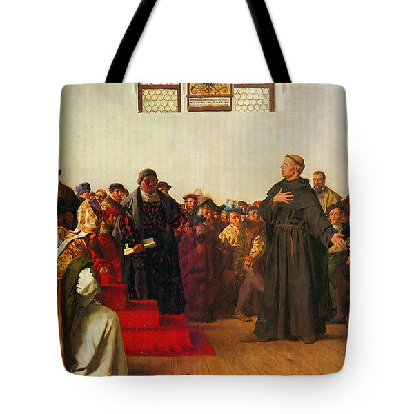 Tote Bag featuring the painting Martin Luther Before The Diet Of Worms by Celestial Images