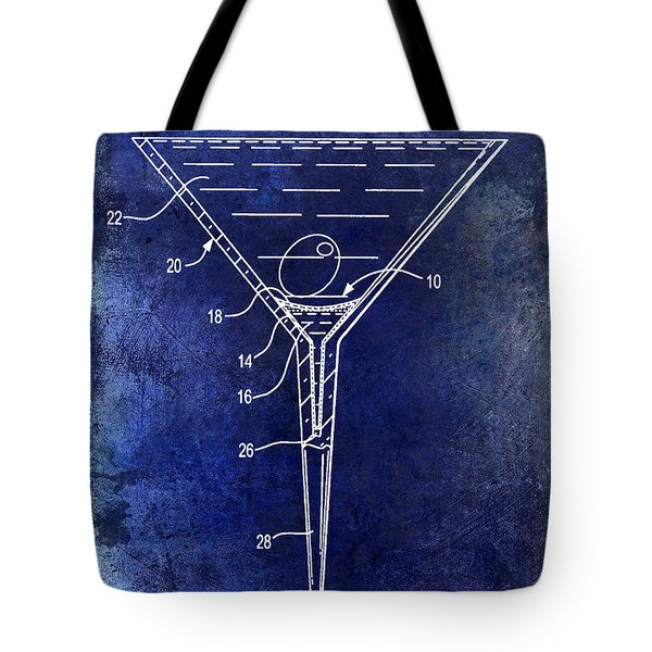 Martini Glass Patent Drawing Blue Tote Bag