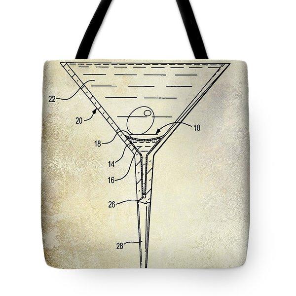 Martini Glass Patent Drawing Tote Bag