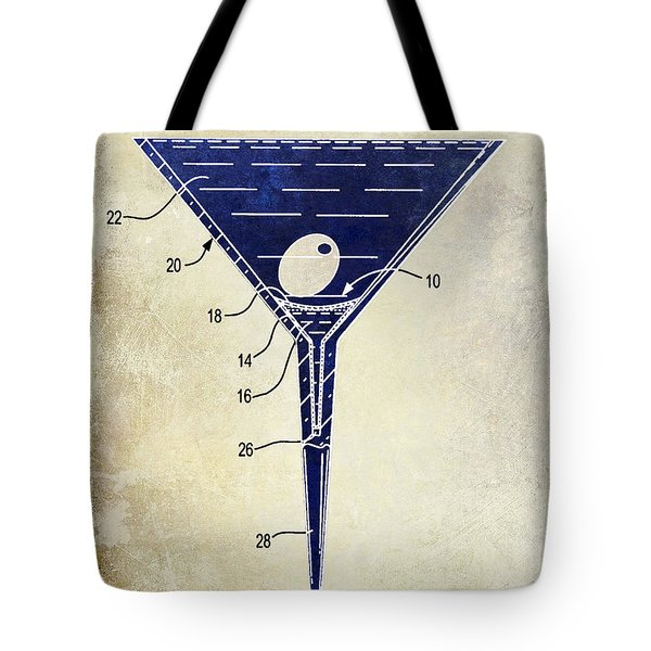 Martini Glass Patent Drawing Two Tone  Tote Bag