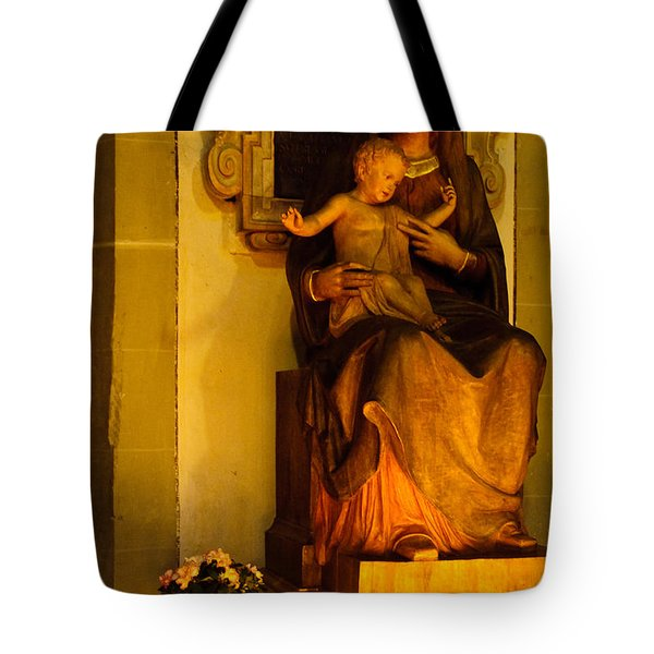 Mary And Baby Jesus Tote Bag by Syed Aqueel