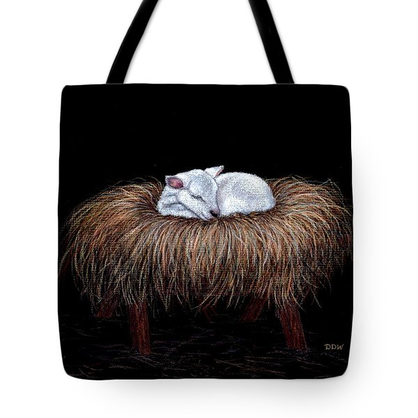 Tote Bag featuring the painting Mary Had A Little Lamb by Dee Dee  Whittle