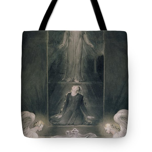 Mary Magdalene At The Sepulchre Tote Bag by William Blake