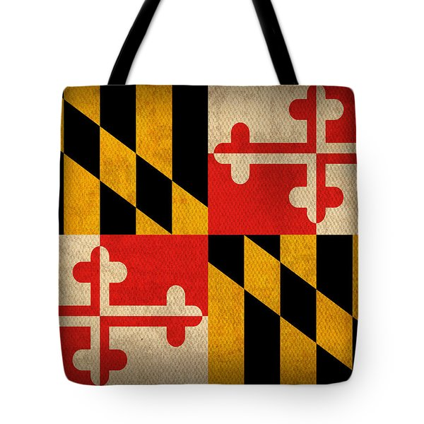 Maryland State Flag Art On Worn Canvas Tote Bag by Design Turnpike