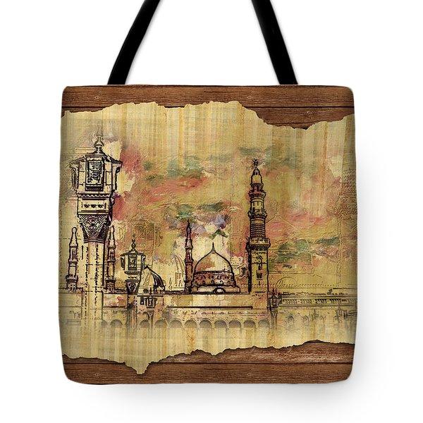 Masjid E Nabwi Sketch Tote Bag by Catf