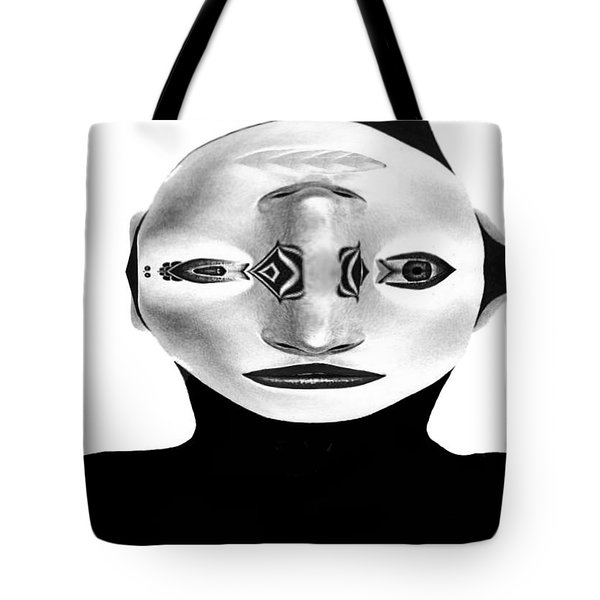 Tote Bag featuring the painting Mask Black And White by Rafael Salazar
