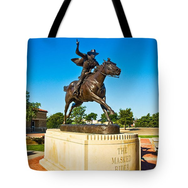 Tote Bag featuring the photograph Masked Rider Statue by Mae Wertz