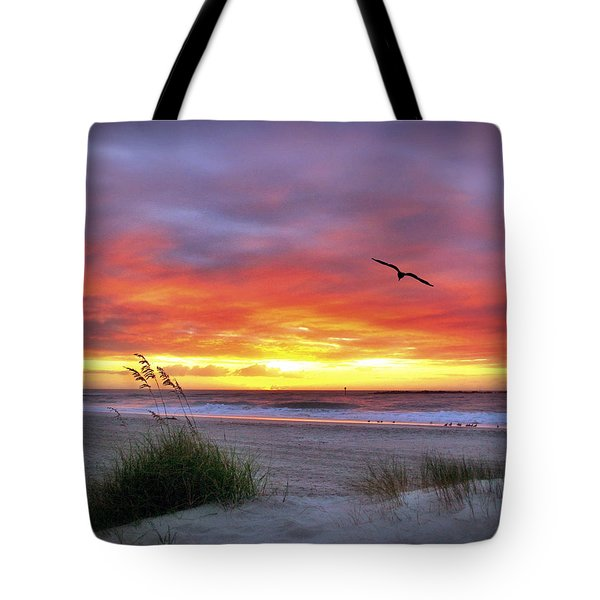 Tote Bag featuring the photograph Masonboro Inlet Sunrise by Phil Mancuso