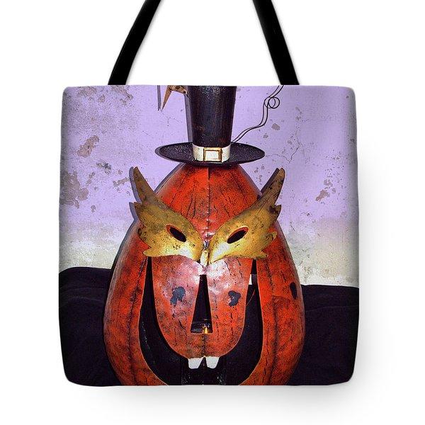 Masquerade Mask Pumpkin - Halloween Art Tote Bag by Ella Kaye Dickey
