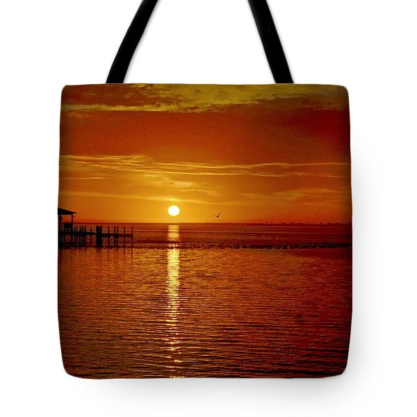 Tote Bag featuring the photograph Mass Migration Of Birds With Colorful Clouds At Sunrise On Santa Rosa Sound by Jeff at JSJ Photography