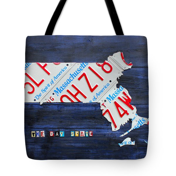 Massachusetts License Plate Map Tote Bag by Design Turnpike