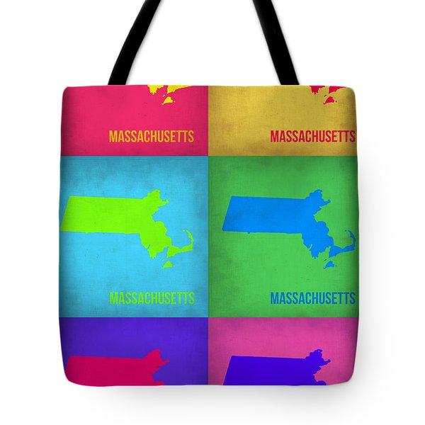 Massachusetts Pop Art Map 1 Tote Bag by Naxart Studio