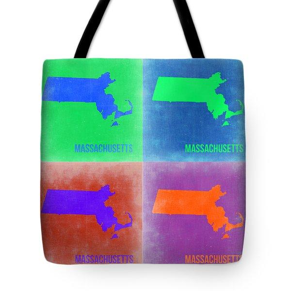 Massachusetts Pop Art Map 2 Tote Bag by Naxart Studio
