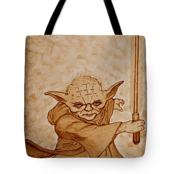 Tote Bag featuring the painting Master Yoda Jedi Fight Beer Painting by Georgeta  Blanaru