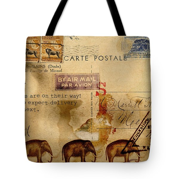 Mastodons Are On Their Way Tote Bag by Carol Leigh