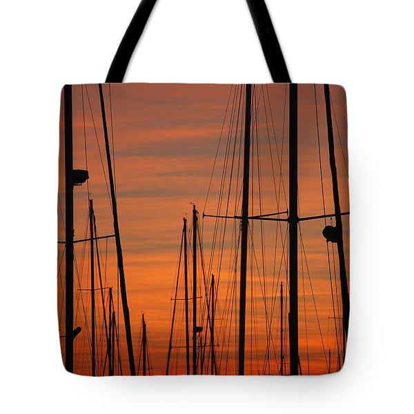Masts At Sunset Tote Bag