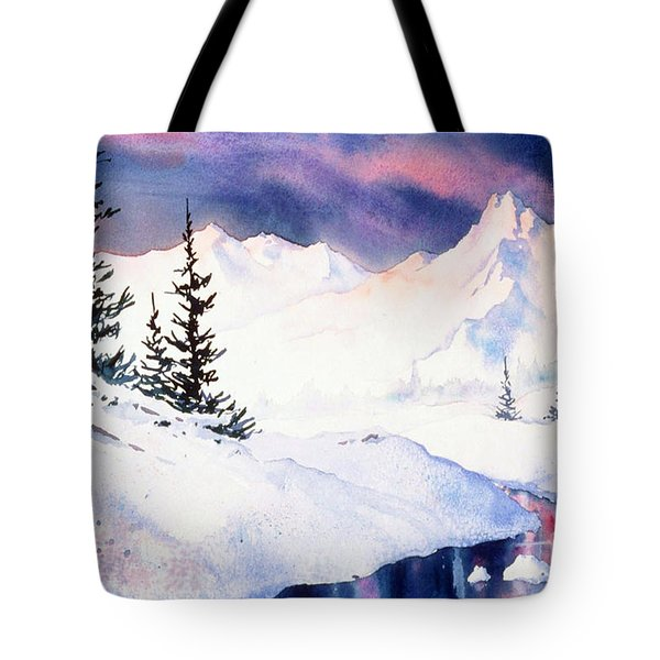 Tote Bag featuring the painting Matanuska Sunset Impression by Teresa Ascone