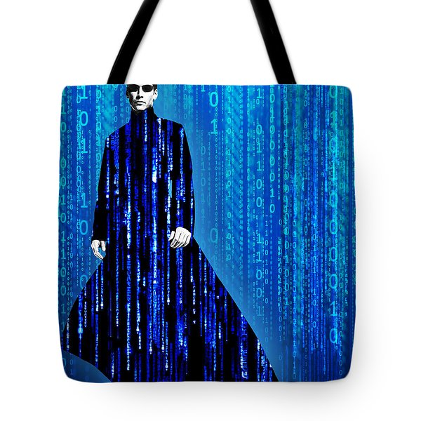 Matrix Neo Keanu Reeves Tote Bag by Tony Rubino