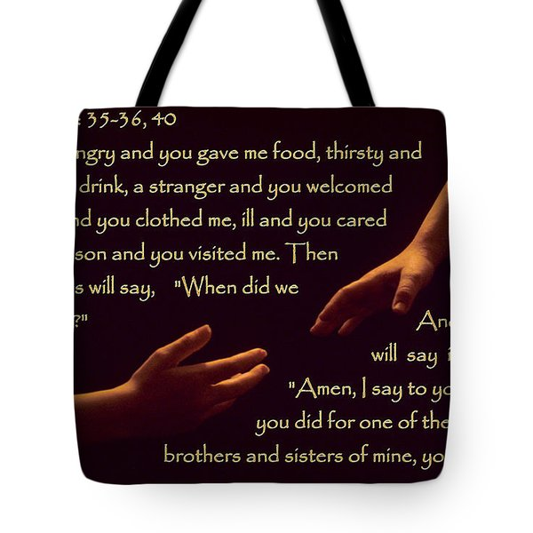 Matthew 25 Tote Bag by Sharon Elliott