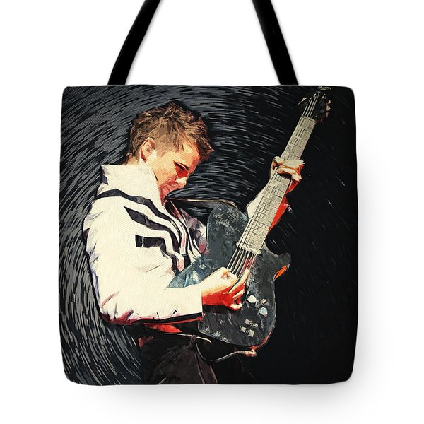 Tote Bag featuring the digital art Matthew Bellamy by Taylan Apukovska