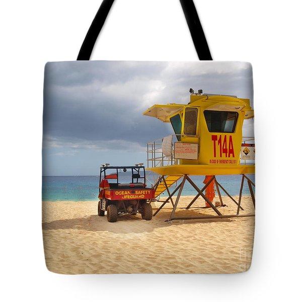 Maui Lifeguard Tower Tote Bag