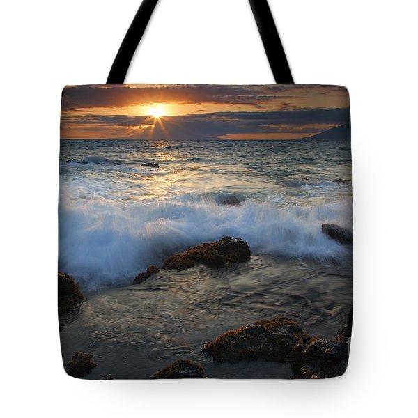 Maui Sunset Spray Tote Bag by Mike  Dawson