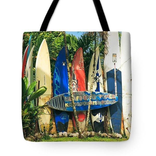 Maui Surfboard Fence - Peahi Hawaii Tote Bag