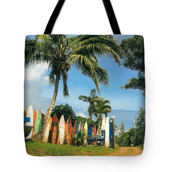 Maui Surfboard Fence - Peahi Tote Bag by Sharon Mau